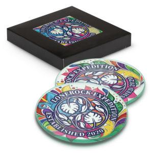 120165 – Venice Glass Coaster Set of 2 Round – Full Colour